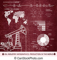 Oil derrick infographic. - Oil derrick infographic with...