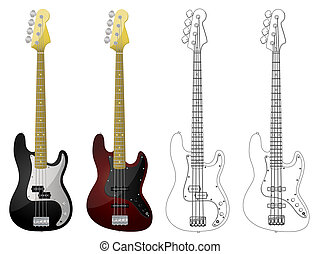 Bass Guitars - Isolated image of bass guitars on white...