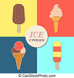 ice cream, summery retro label, flat design - ice cream text...