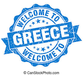 Welcome to Greece blue grungy vintage isolated seal