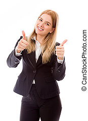 Businesswoman giving thumbs up sign with both hands - Young...