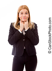 Businesswoman showing smiley face - Young adult caucasian...