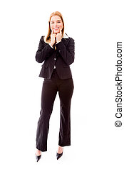 Businesswoman smiling - Young adult caucasian woman isolated...
