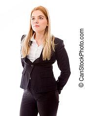mujer de negocios, posición, Manos, atrás,...