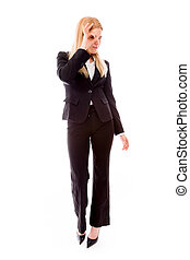 Businesswoman looking through fingers hole - Young adult...