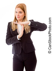 Businesswoman showing time out sign with hands - Young adult...