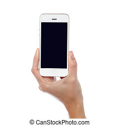 Woman hand with a new mobile handset - Latest cell phone...