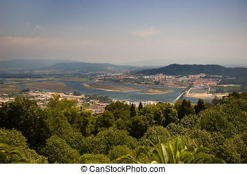 Santa Luzia hill. Viana do Castelo and Lima river view,...