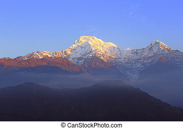 Himalayas. Nepal - Sunrise in mountains. Annapurna Himalaya...