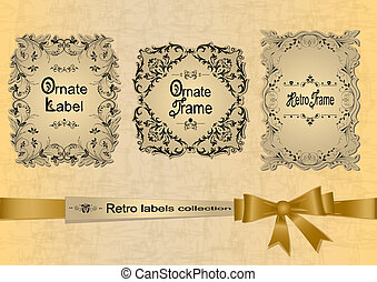 Retro labels collection with ribbon