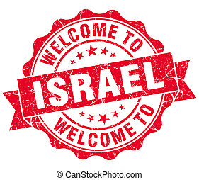 Welcome to Israel red grungy vintage isolated seal