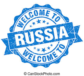 Welcome to Russia blue grungy vintage isolated seal