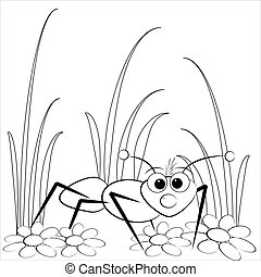 Coloring page - Ant and daisy - Kids illustration with ant...