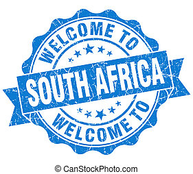 Welcome to South Africa blue grungy vintage isolated seal