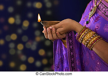 Festive of light - Diwali or festive of lights. Traditional...