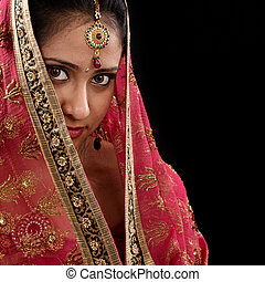 Mystery young Indian girl - Portrait of beautiful mystery...