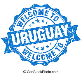 Welcome to Uruguay blue grungy vintage isolated seal
