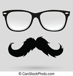 mustache, beard and hairstyle hipster in glasses