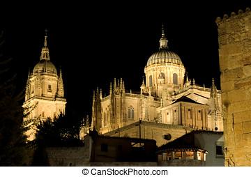 View of Salamanca cathedral at night