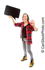 Young woman waving hand with holding a blank speech bubble