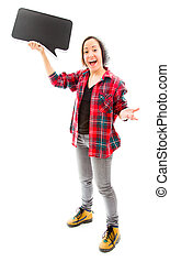 Excited woman holding a blank speech bubble