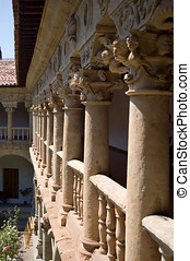 Gallery of the cloister in Las Duenas Convent Salamanca,...