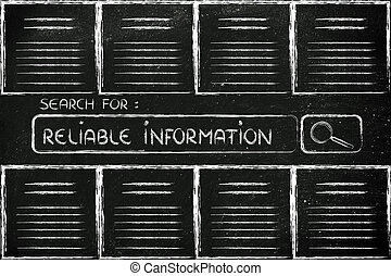 documents and search bar, looking for reliable information -...