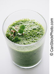 Food: Green Smoothie on white background - Green Smoothie on...