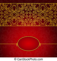 Abstract gold and red invitation frame