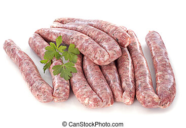 pork sausages in front of white background