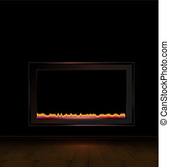 hearth in the dark room - the abstract dark room with a...