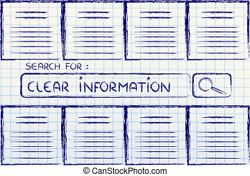 documents and search bar, looking for clear information -...
