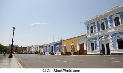Colonial buildings on the main square of Trujillo, Peru -...