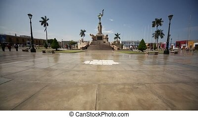 Trujillo, Peru - main square with old colonial buildings and the freedom monument