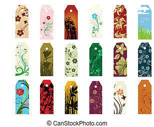 bookmarks set - Set of different vector floral bookmarks for...