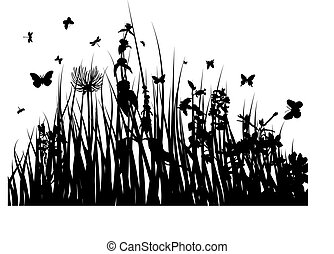 grass silhouette - Vector grass silhouettes background for...
