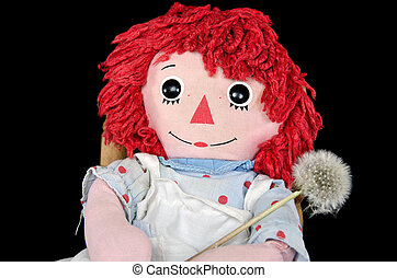 rag doll with dandelion - Old rag doll with fluffy dandelion...