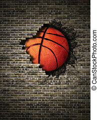 basketball embedded in a brick wall