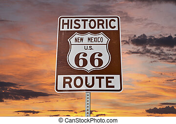 Old Route 66 New Mexico Sign With Sunset Sky - Historic...