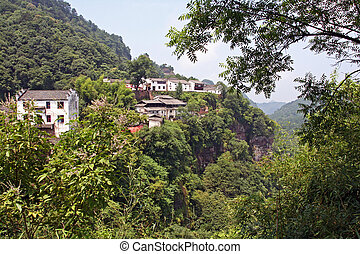 chinese village in Qiyun Mountain - photo of beautiful...
