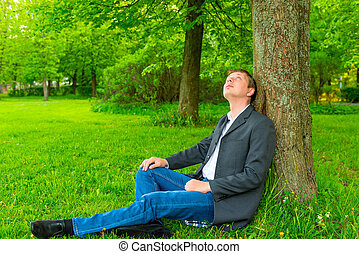 Businessman in the park looking up at a tree