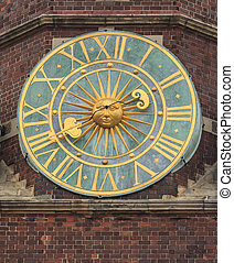 old clock on tower of the city hall, wroclaw, poland