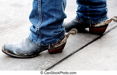 Cowboy Boots with spurs attached