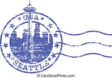 Stamp with cityscape of Seattle