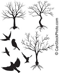 silhouette vector, tree and birds - Is a EPS 10 Illustrator...