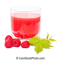 glass with juice and placer raspberries, isolated white...