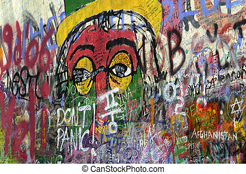 graffitti - famous graffitti of jonh lenon in prague
