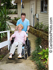 Arriving at the Nursing Home - Senior woman arrives at a...