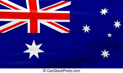Waving Australia Flag, loop ready - Waving Australia Flag,...