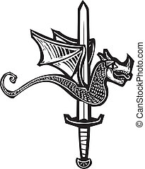 Dragon Sword Up - Woodcut style image of a dragon spitted on...